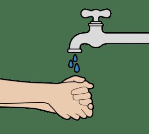 handen wassen voordat je aan de zelftest begint
