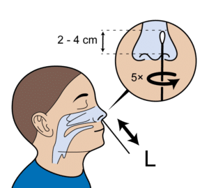 breng het wattenstaafje van de zelftest 2 tot 4 centimeter diep de neus in linker neusgat